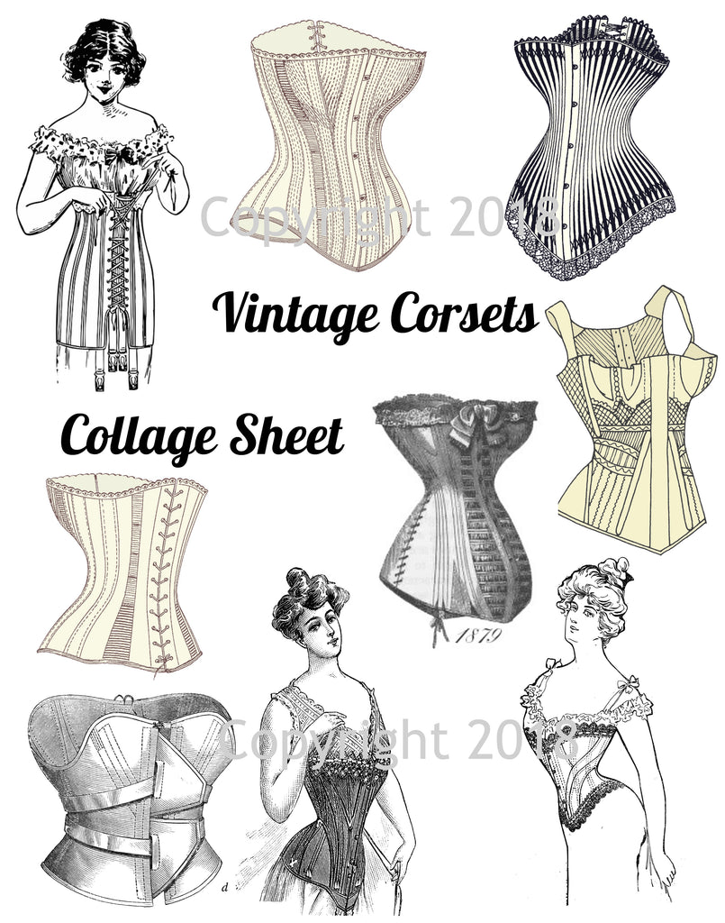 Victorian Corsets Collage Sheet , Corset Collage Sheet, Scrapbooking, Card Making, Collage Sheet Corsets