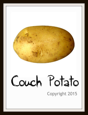 "Art Print  ""Couch Potato"", Wall Decor, 8 x 10"" Unframed Printed Art Image"