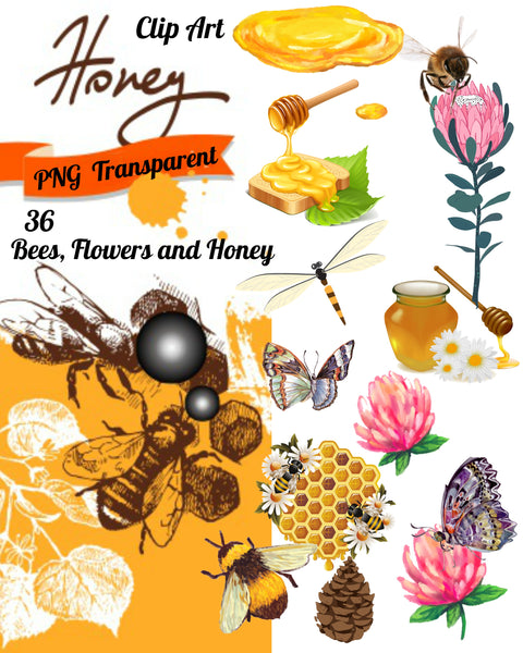 36 Assorted Honey Bees and Flowers Graphic Images Clip Art Transparent PNG Files Instant Download