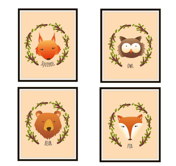Set of 4 Adorable Animal Nursery Prints, Poster Art Baby Shower, Wall Decor Unframed 8 x 10""
