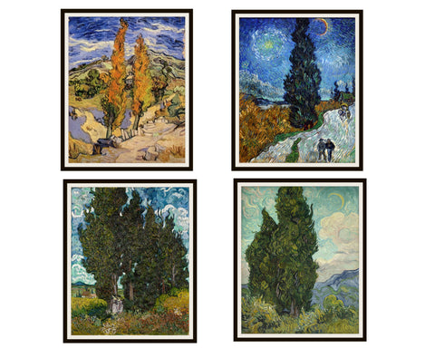 "Set of 4 Vincent Van Gogh Fine Art Cypress Trees Reproductions Print Posters Unframed 8 x 10"" or 11 x 14"""
