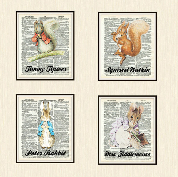 Set of 4 Beatrix Potter Prints, Unframed Peter Rabbit and Friends on Ephemera Dictionary Page, Nursery Baby Prints, Shower Gift 8 x 10""