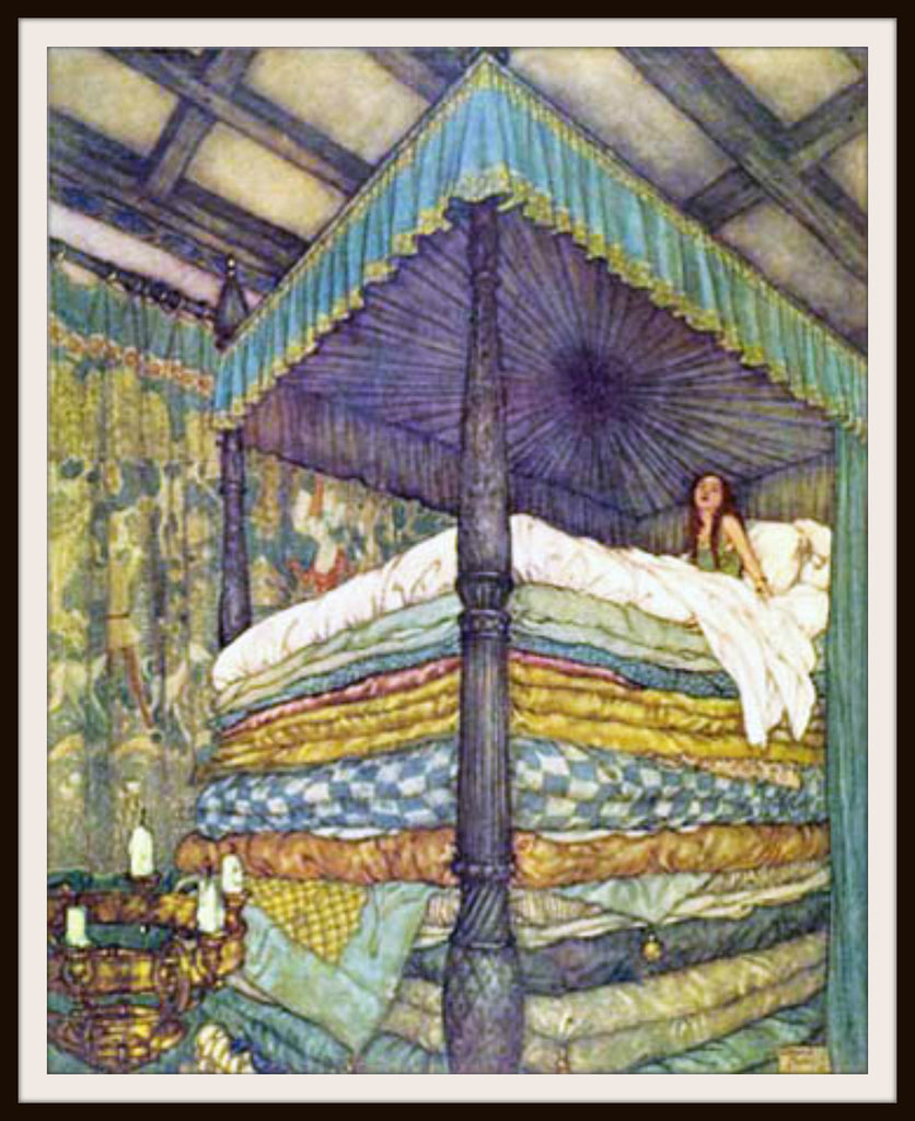 "Vintage Art Print Wall Decor Nursery Print ""The Princess and the Pea"" by Edmund Dulac, 8.5 x 11, Reproducttion Unframed"