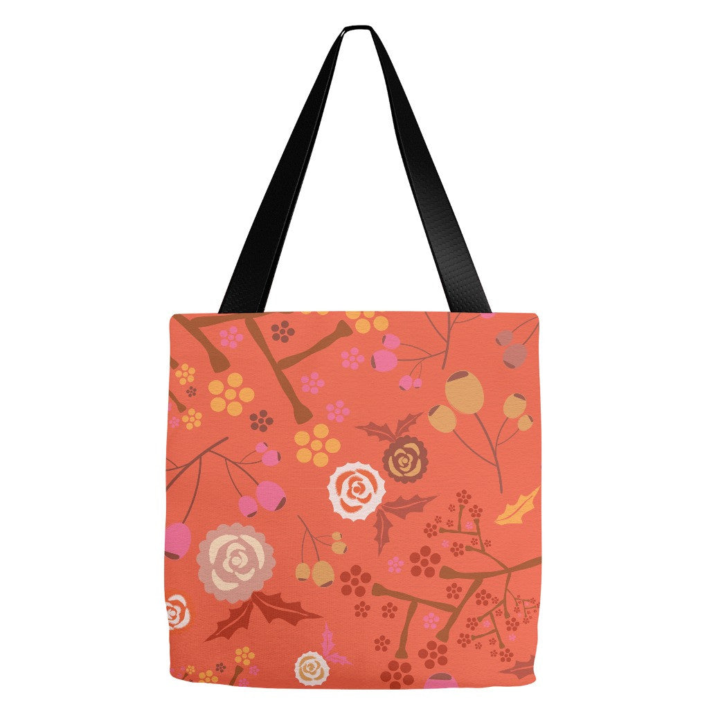 Orange Floral Tote Bag 18 x 18""