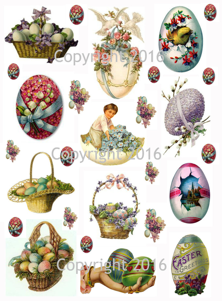 Vintage Easter Scrap Images Eggs Printed Collage Sheet