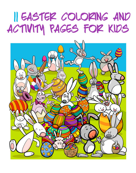 "11 Kids Easter Coloring and Activity Pages 8.5 x 11"" PDF Sheets to Color,  Instant Download"