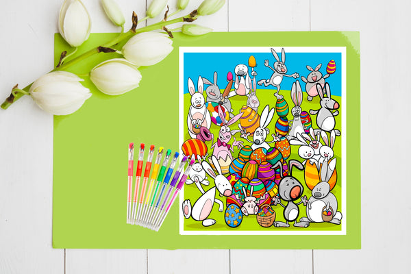 "11 Kids Easter Coloring and Activity Pages 8.5 x 11"" PDF Sheets to Color,  Instant Download Promo"