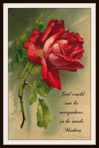 "Vintage Mother's Day Art Print  ""God Could Not Be Everywhere""  8.5 x 11"""