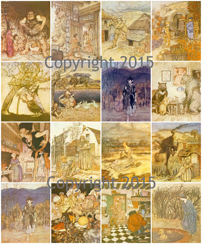 English Fairy Tale Images #1  by Aruthur Rackham Collage Sheet