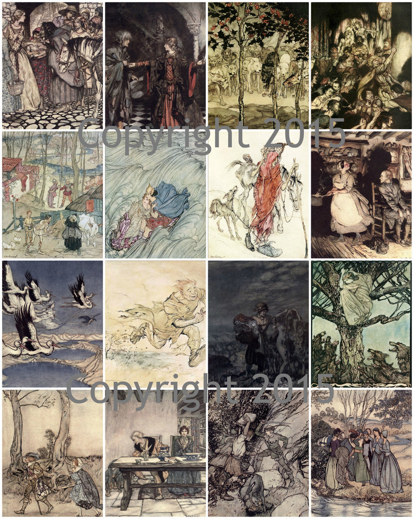 English Fairy Tale Images #2  by Aruthur Rackham Collage Sheet