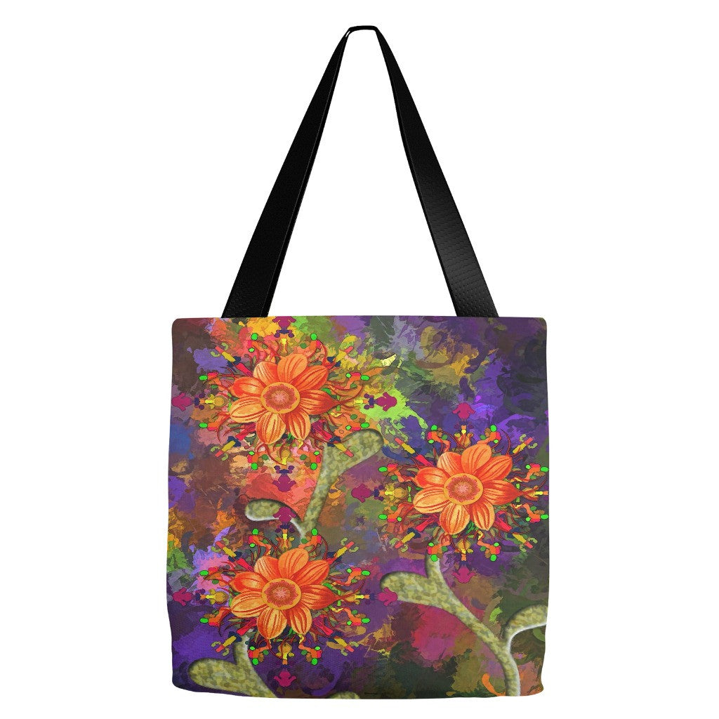 Flower Print Tote Bag 18 x 18""