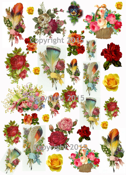 Victorian Feathers And Flowers Collage Sheet Printed