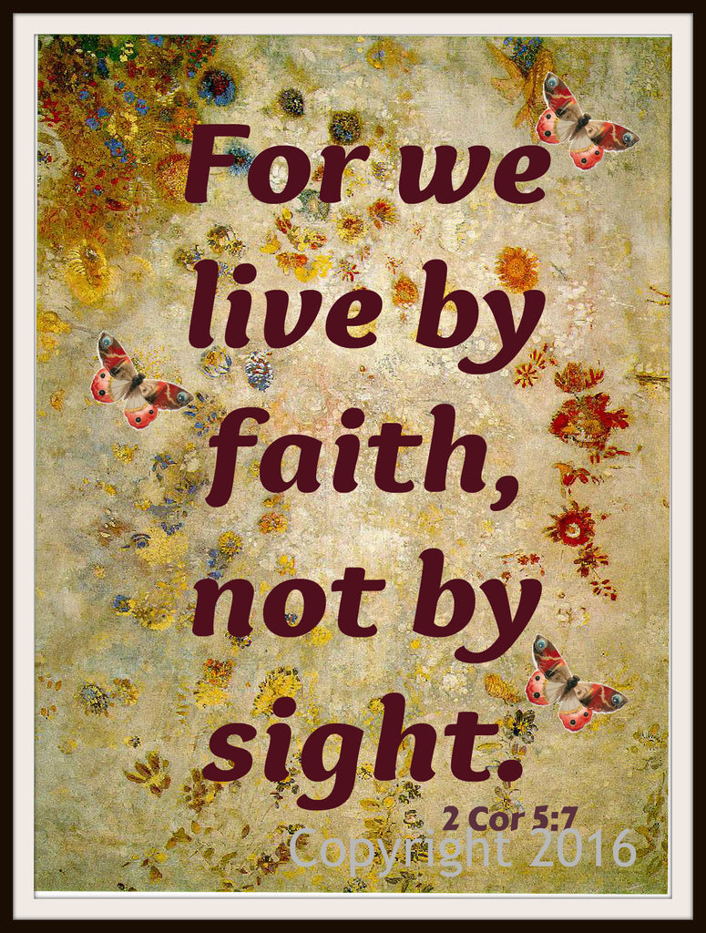 "Scripture Art Print  ""For We Live By Faith"", Wall Decor, 8 x 10"" Unframed Motivational Quote"