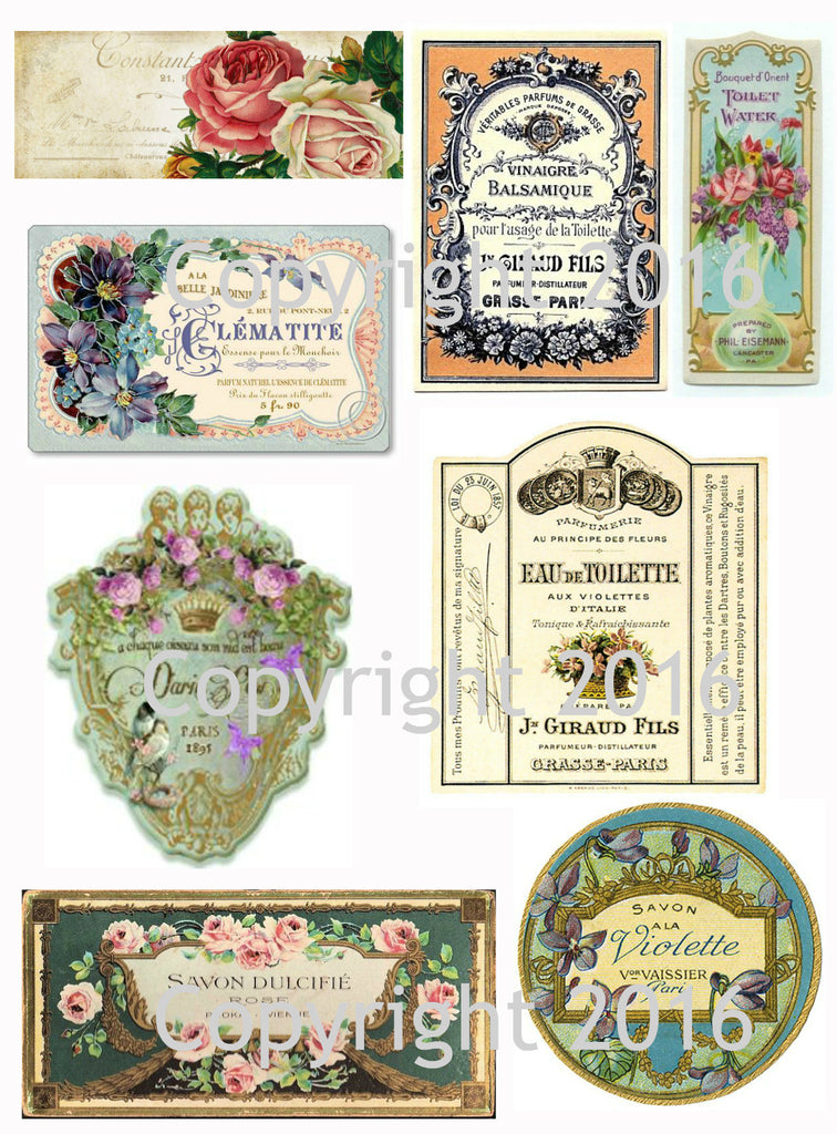 Vintage French  Perfume Labels #1 Collage Sheet for Instant download