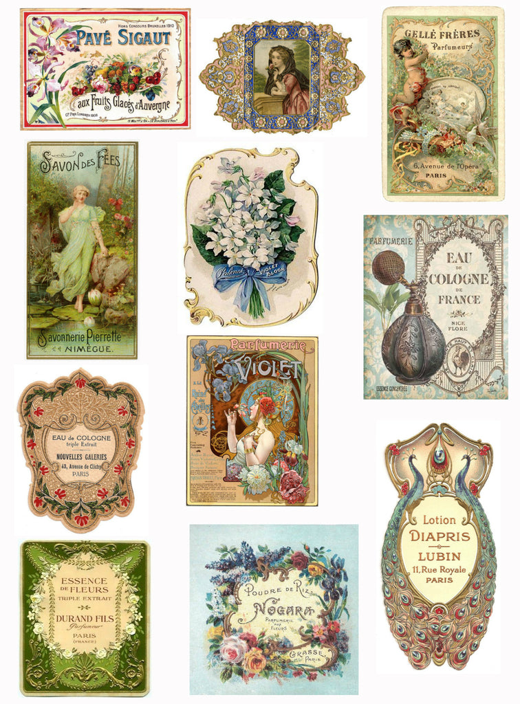 Vintage French  Perfume Labels #2 Collage Sheet for Instant download