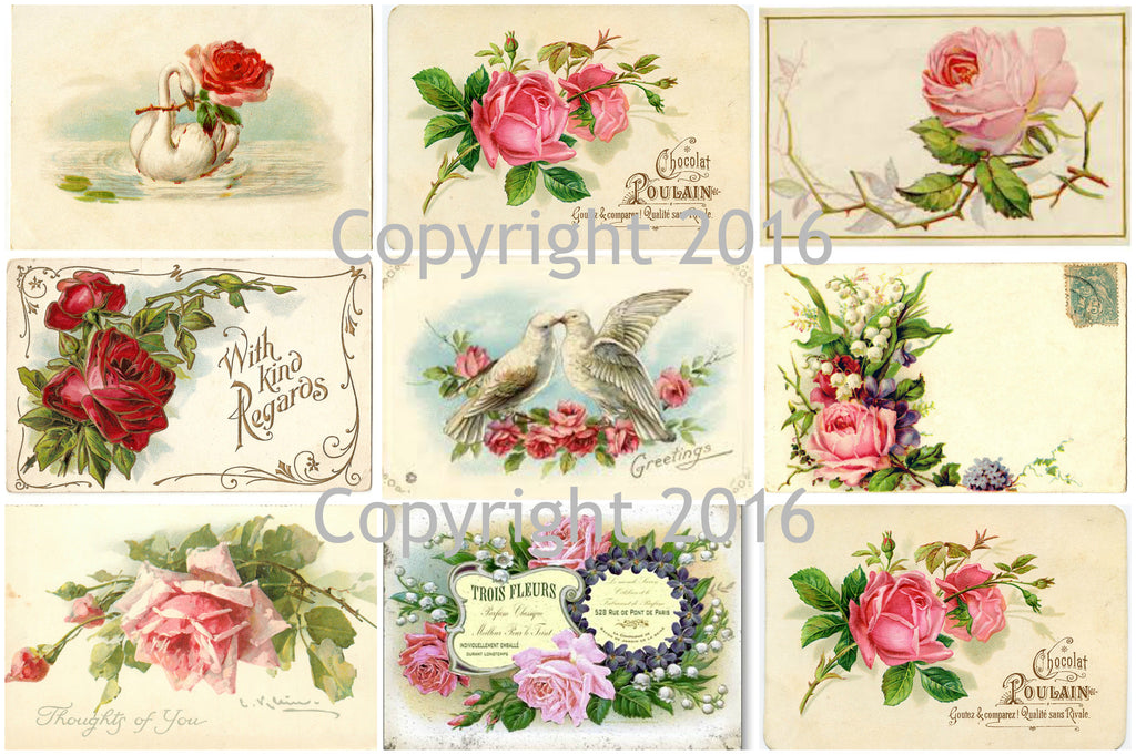 French roses collage sheet printed collage sheet weddings french roses collage sheet printed collage sheet weddings decoupage scrapbook altered art mightylinksfo