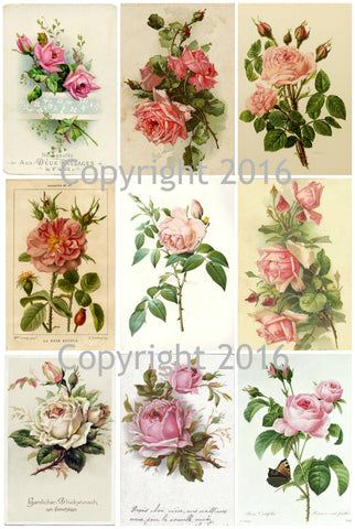 French Roses Collage #2 Sheet  Printed Collage Sheet,  Weddings, Decoupage, Scrapbook, Altered Art, Victorian Scrap