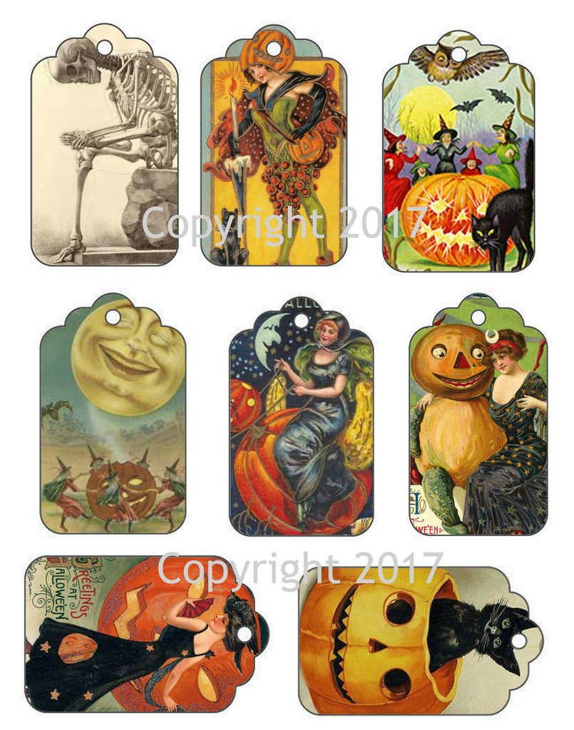 8 Halloween Gift Tags, Labels on one Sheet to Cut