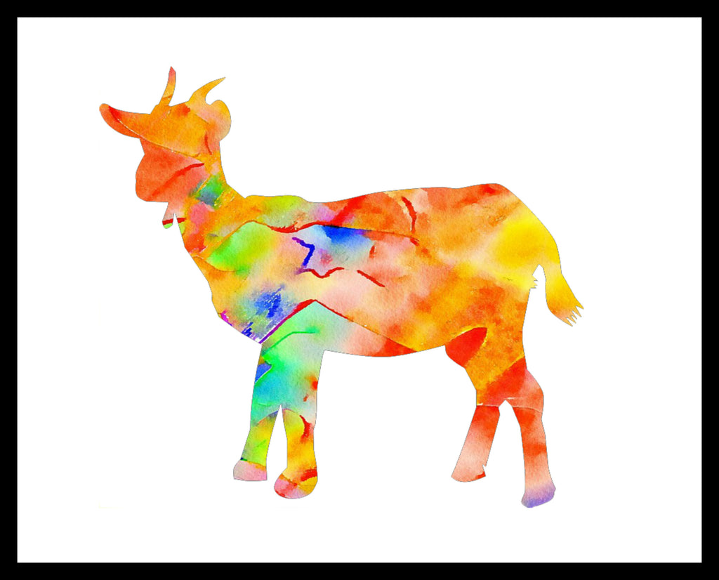 Printed Watercolor Art Print Goat Poster Art Image Unframed