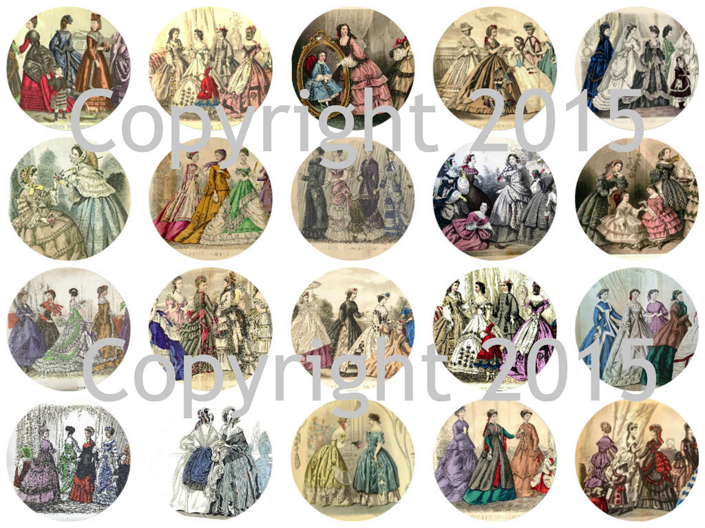 "Printed Vintage Victorian Gody's Fashions 1 3/4"" Circles Collage Sheet"