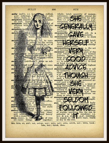 Alice in Wonderland Vintage Art Print on Ephemera Dictionary Book Page Background, 8 x 10""