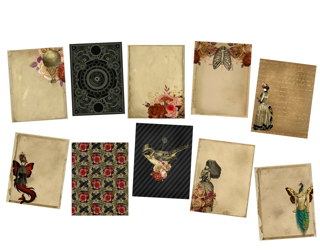 Steampunk Journal Pages #1: 10 Journal or Scrapbook Pages