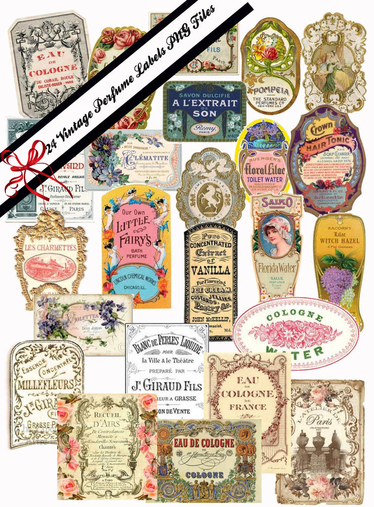 Vintage Victorian and French  Perfume Labels #2 PNG and JPG Files