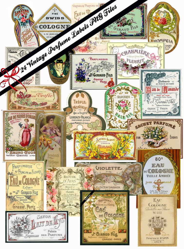 Vintage Victorian and French  Perfume Labels #3 PNG and JPG Files