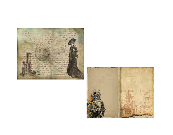 Steampunk Journal Pages #7:  8 Journal or Scrapbook Pages