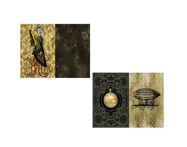 Steampunk Journal Pages #8:  8 Journal or Scrapbook Pages
