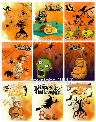 Printable Vintage Halloween Cards Collage Sheet 104.