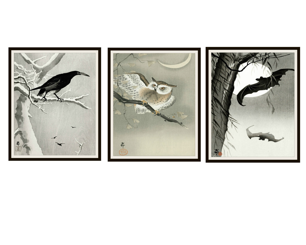 "Set of 3 Vintage Halloween Watercolor Art Print Posters,""Owl, Crow and Bats"" Autumn Wall Art, Halloween Decor 8 x 10 , Unframed"