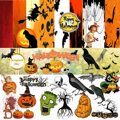Halloween Scrapbook Kit Instant Download