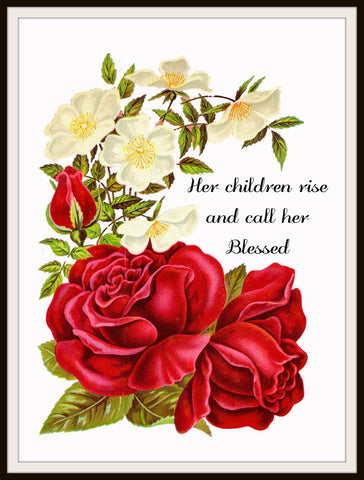 "Vintage Mother's Day Art Print  ""Her Children Rise and Call Her Blessed""  8.5 x 11"""