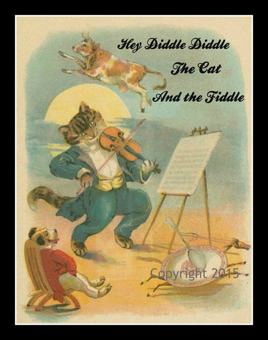 "Art Print ""Hey Diddle Diddle"", Wall Decor, 8 x 10"" Unframed Printed Art Image"