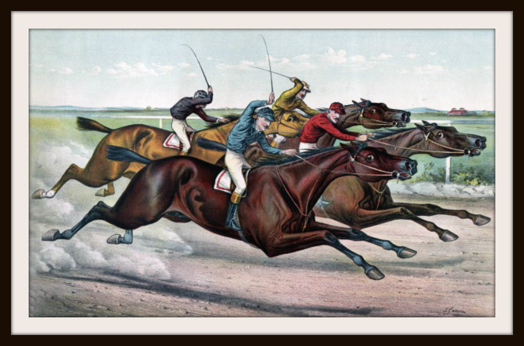 Vintage Poster Art Poster  Neck and Neck Horse Race 8.5 x 11""