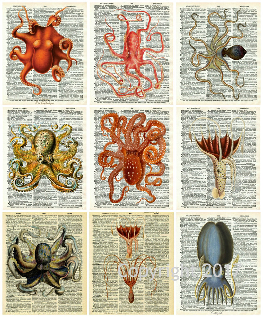 Printed Vintage Octopus Collage Sheet on Vintage Reproduction Dictionary Pages 8.5 x 11""