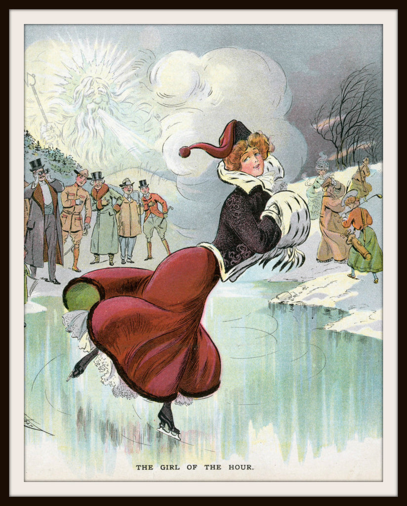 Vintage Poster Art Poster Ice Skating Woman 8.5 x 11""
