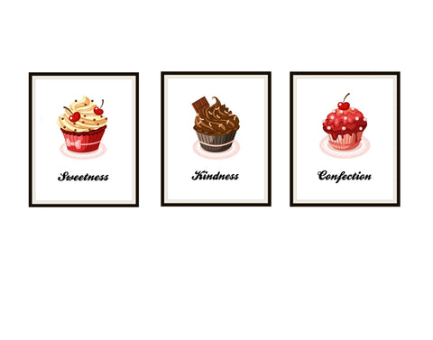Set of 3 Cupcake Kitchen Art Print Posters Unframed , Kitchen Wall Decor, Bakery Art, Baker Art Gift