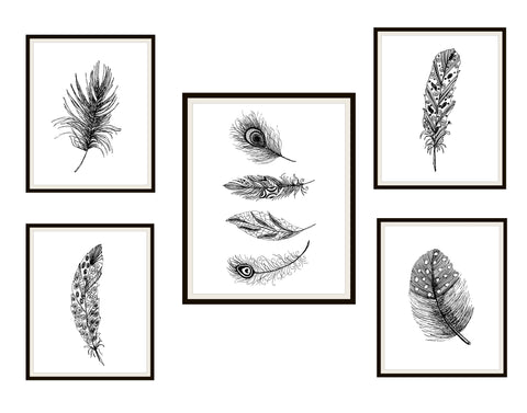 Set of 5 Black Feathers Art Print Poster, Unframed Boho Prints, Farm House Art,  Beach House Ocean Art Prints, Feather Prints Wall Decor