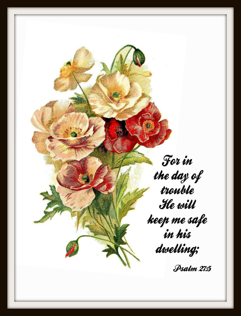 "Vintage Art Print ""For In the Day of Trouble"", Wall Decor, 8 x 10"" Unframed Printed Art Image, Scripture Print, Motivational Quote"