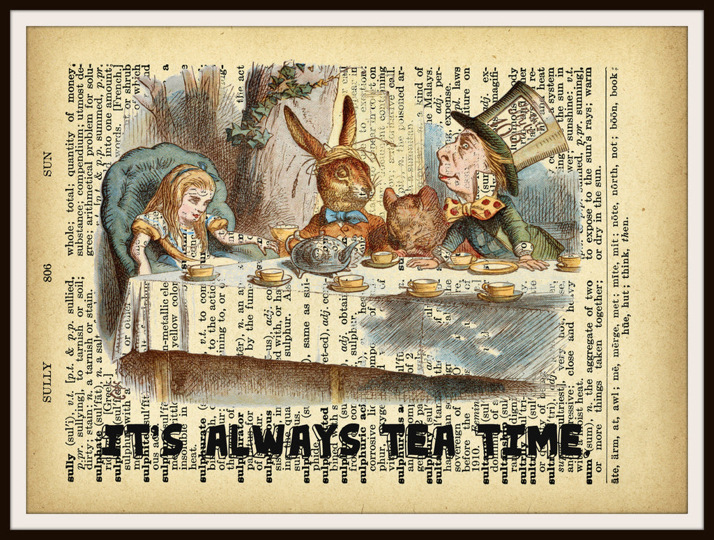 Alice In Wonderland Tea Party Vintage Art Print On