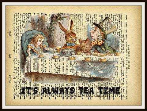 Alice in Wonderland Tea Party Vintage Art Print on Ephemera Dictionary Book Page Background, 8 x 10""