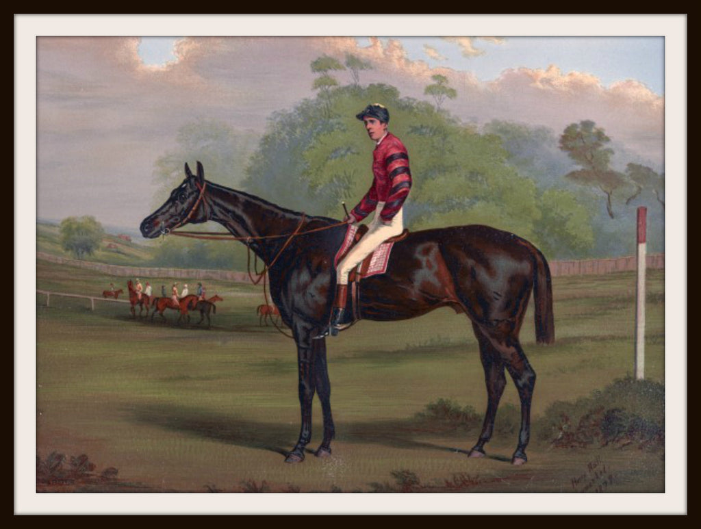 Vintage Poster Art Poster Jockey on Racehorse 8.5 x 11""