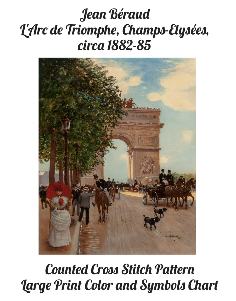 Arc de Triomphe by Jean Béraud Counted Cross Stitch Pattern INSTANT DOWNLOAD