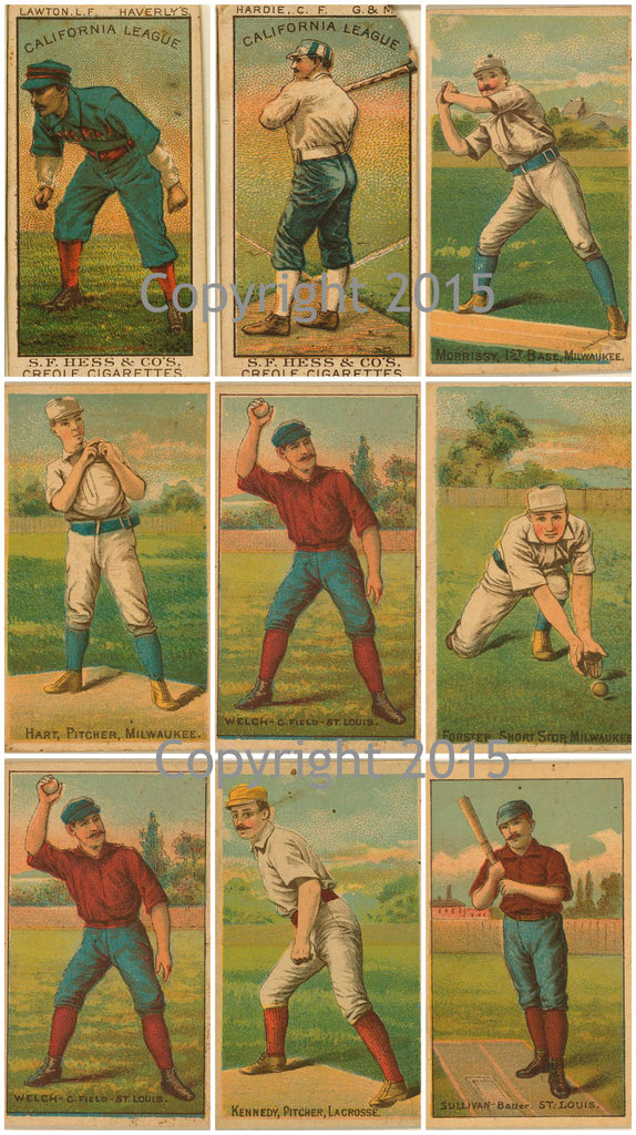Large Vintage Baseball Cards #1 Collage Sheet