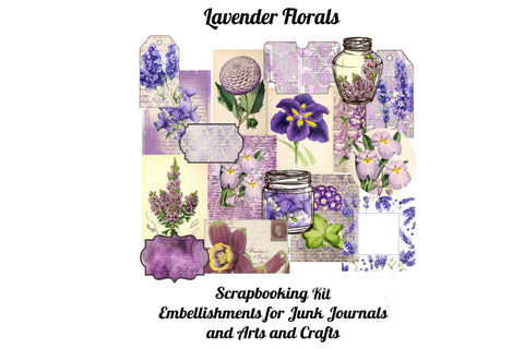 Lavender Florals Printable Scrapbook Kit 33 Pages PDF