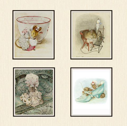 "Beatrix Potter Peter Rabbit and Friends, Set of 4  Art Prints 8 x 10"" Unframed"