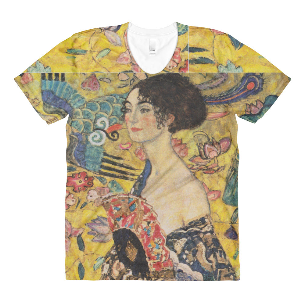"Gustav Klimt ""Lady With a Fan""  All Over Sublimation Woman's Crew Neck T-shirt"