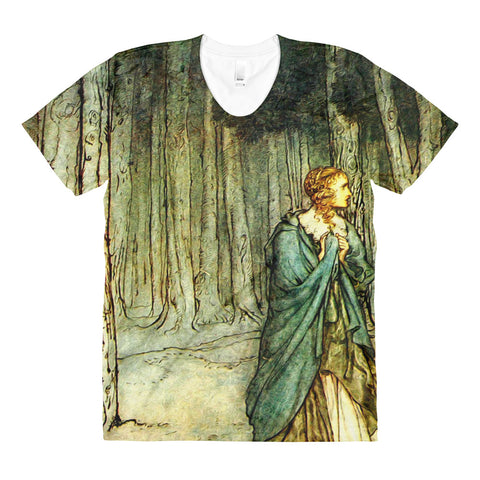 Arthur Rackham Fairy Tale Sublimation Women's Crew Neck T-shirt